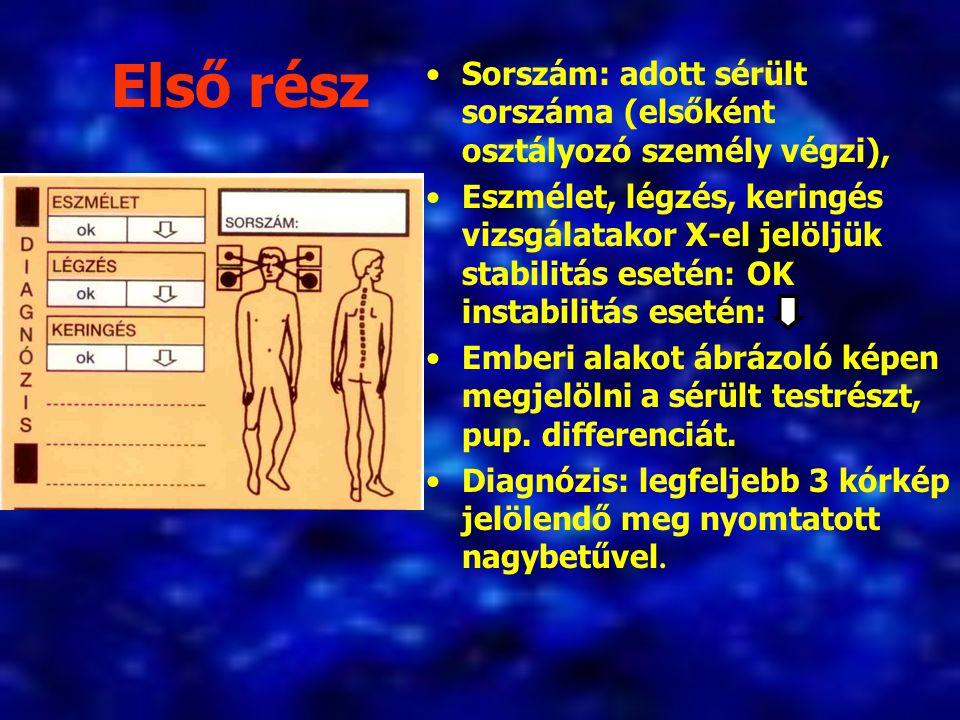 Első rész Sorszám: adott sérült sorszáma (elsőként osztályozó személy végzi), Eszmélet, légzés, keringés vizsgálatakor X-el jelöljük stabilitás esetén