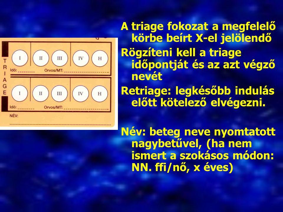 A triage fokozat a megfelelő körbe beírt X-el jelölendő Rögzíteni kell a triage időpontját és az azt végző nevét Retriage: legkésőbb indulás előtt köt