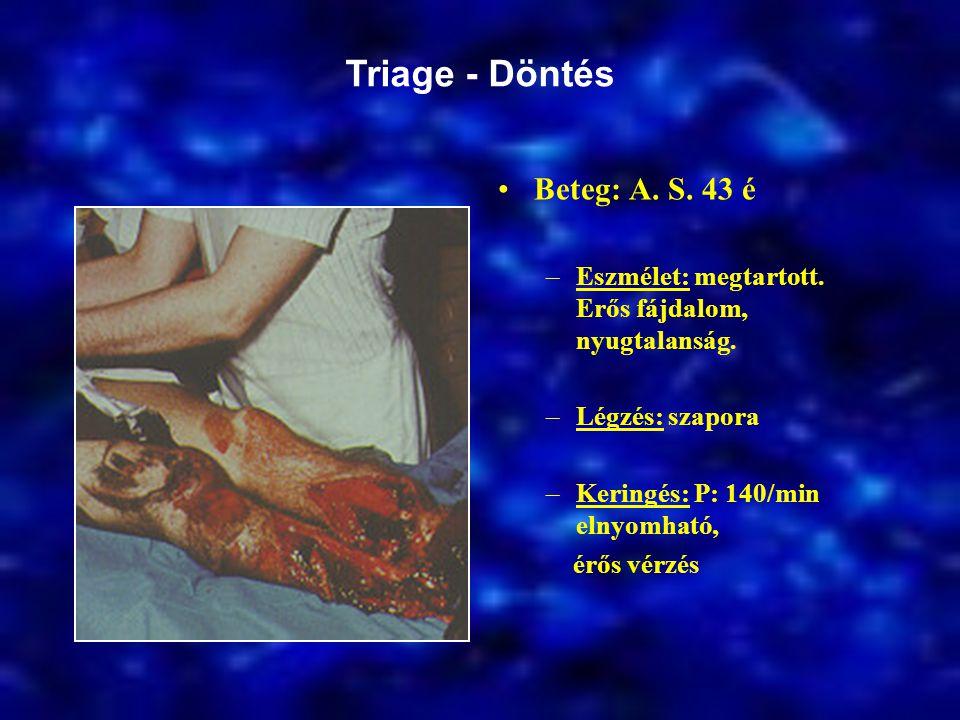 Beteg: A.S. 43 é –Eszmélet: megtartott. Erős fájdalom, nyugtalanság.