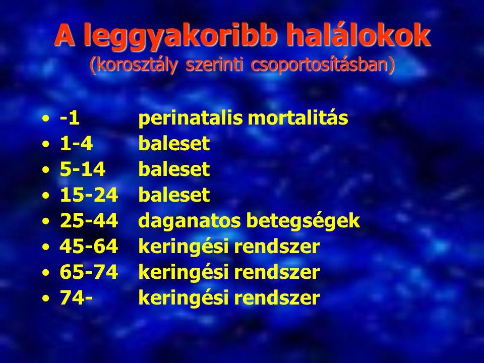 A leggyakoribb halálokok (korosztály szerinti csoportosításban) -1 perinatalis mortalitás 1-4 baleset 5-14 baleset 15-24 baleset 25-44 daganatos beteg