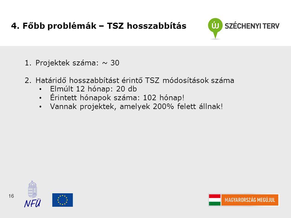 16 1.Projektek száma: ~ 30 2.Határidő hosszabbítást érintő TSZ módosítások száma Elmúlt 12 hónap: 20 db Érintett hónapok száma: 102 hónap.