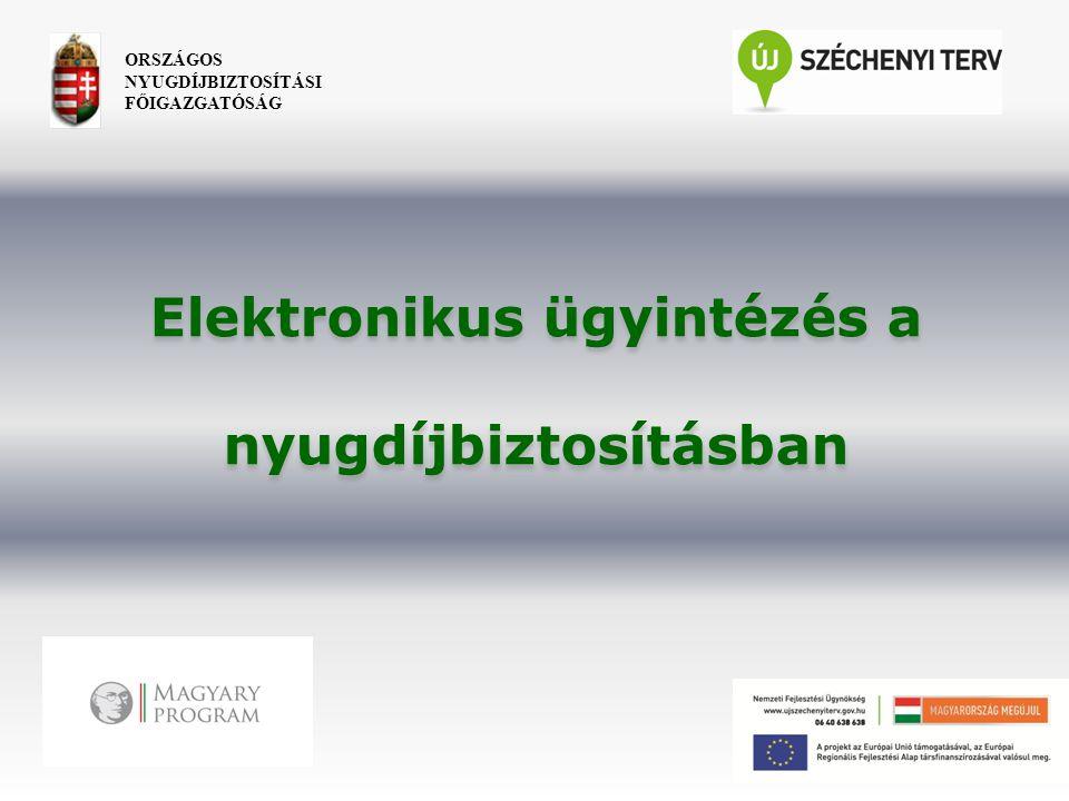 ORSZÁGOS NYUGDÍJBIZTOSÍTÁSI FŐIGAZGATÓSÁG Elektronikus ügyintézés a nyugdíjbiztosításban Elektronikus ügyintézés a nyugdíjbiztosításban