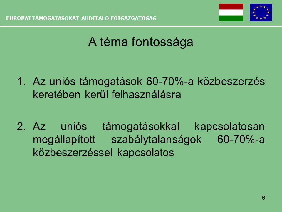 EURÓPAI TÁMOGATÁSOKAT AUDITÁLÓ FŐIGAZGATÓSÁG A téma fontossága 1.Az uniós támogatások 60-70%-a közbeszerzés keretében kerül felhasználásra 2.Az uniós