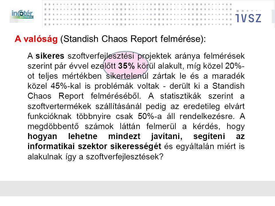 A sikeres szoftverfejlesztési projektek aránya felmérések szerint pár évvel ezelőtt 35% körül alakult, míg közel 20%- ot teljes mértékben sikertelenül zártak le és a maradék közel 45%-kal is problémák voltak - derült ki a Standish Chaos Report felméréséből.