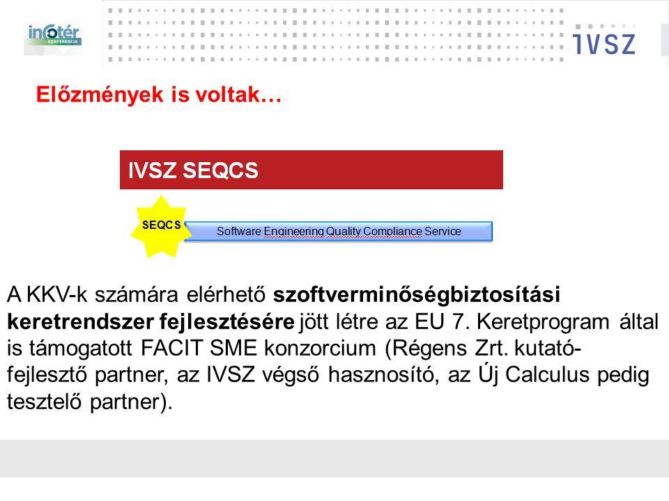 IVSZ szerep: érdekvédelem, érdekképviselet Feladat: Nemzetközi legjobb gyakorlat alapján kialakított, a szoftverfejlesztésre vonatkozó minősítési rendszer hazai bevezetése 350+ tag ICT iparág 70%-a fedve Szállító-független szakértők Nemzetközi módszertanok Külföldi gyakorlat EU projekt Szakmai támogatás Függetlenség SEQCS