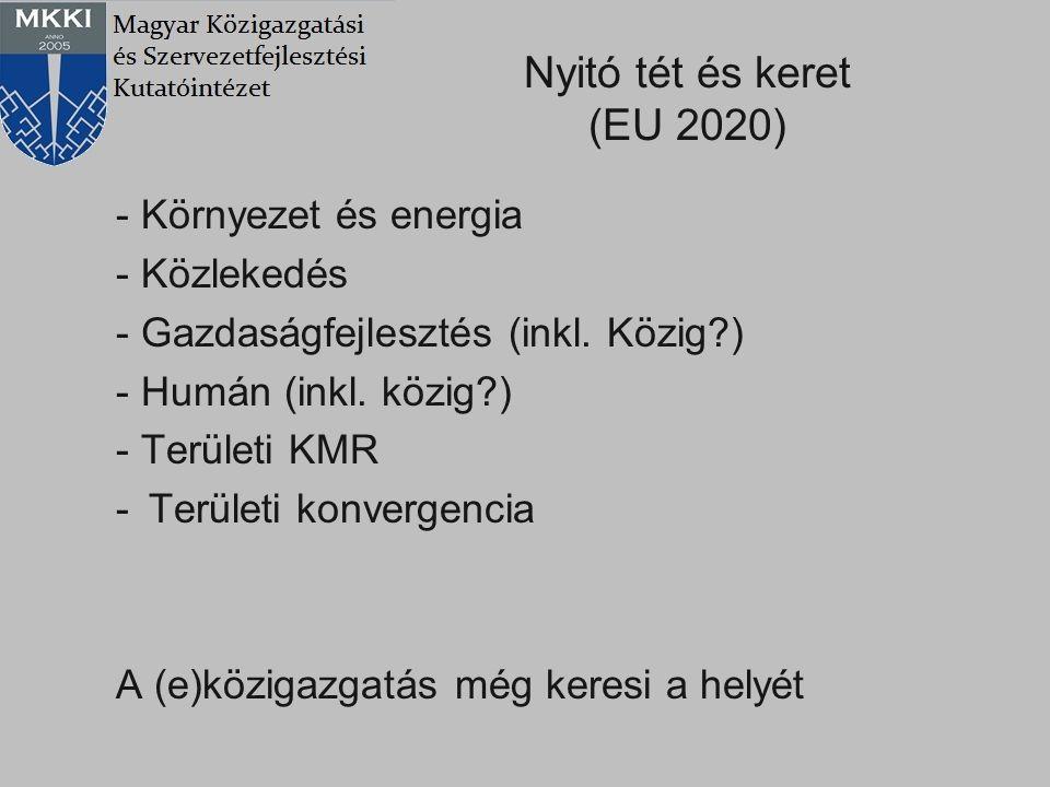 A tervező, végrehajtó, koordináló szervezet-rendszer átalakulása folyamatban: Miniszterelnökség, minisztériumok, NFÜ, NGTH, KSZ-k, etc.