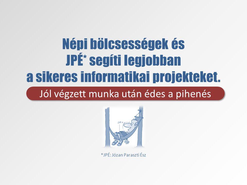 Népi bölcsességek és JPÉ* segíti legjobban a sikeres informatikai projekteket.