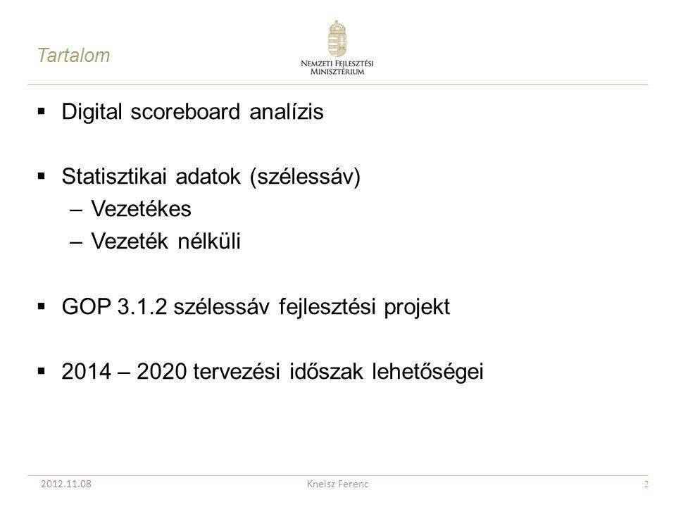 2  Digital scoreboard analízis  Statisztikai adatok (szélessáv) –Vezetékes –Vezeték nélküli  GOP 3.1.2 szélessáv fejlesztési projekt  2014 – 2020