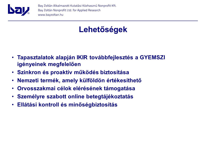Lehetőségek Tapasztalatok alapján IKIR továbbfejlesztés a GYEMSZI igényeinek megfelelően Szinkron és proaktív működés biztosítása Nemzeti termék, amel