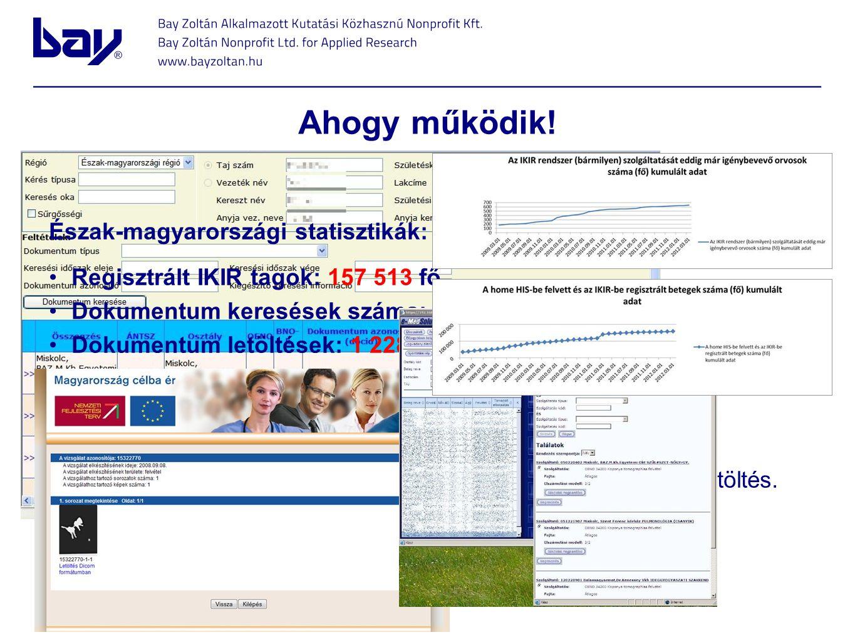 Ahogy működik! Észak-magyarországi statisztikák: Regisztrált IKIR tagok: 157 513 fő Dokumentum keresések száma: 490 403 db Dokumentum letöltések: 1 22