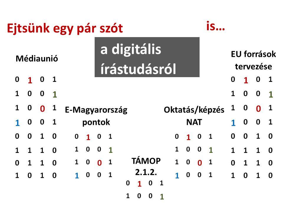 Ejtsünk egy pár szót a digitális írástudásról is… Médiaunió E-Magyarország pontok TÁMOP 2.1.2.