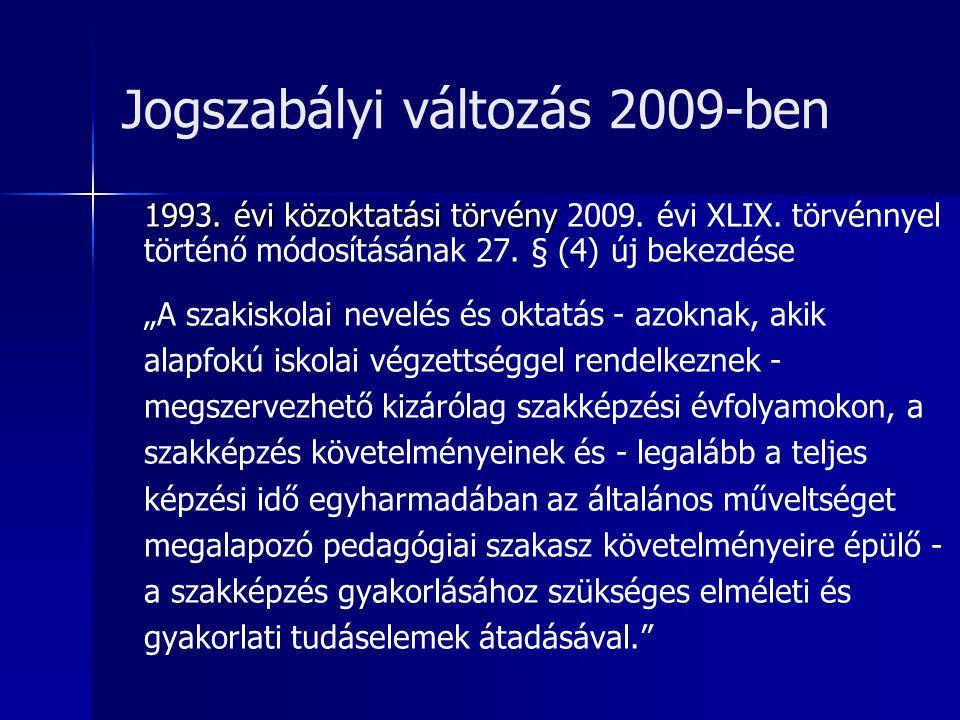 Jogszabályi változás 2009-ben 1993. évi közoktatási törvény 1993.