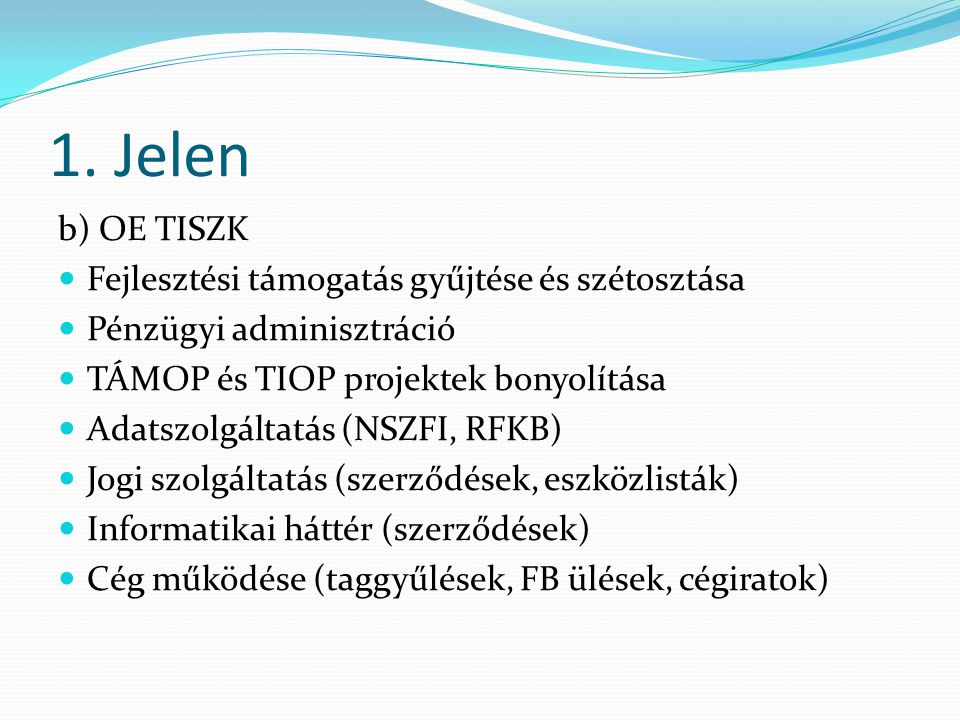 1. Jelen b) OE TISZK Fejlesztési támogatás gyűjtése és szétosztása Pénzügyi adminisztráció TÁMOP és TIOP projektek bonyolítása Adatszolgáltatás (NSZFI