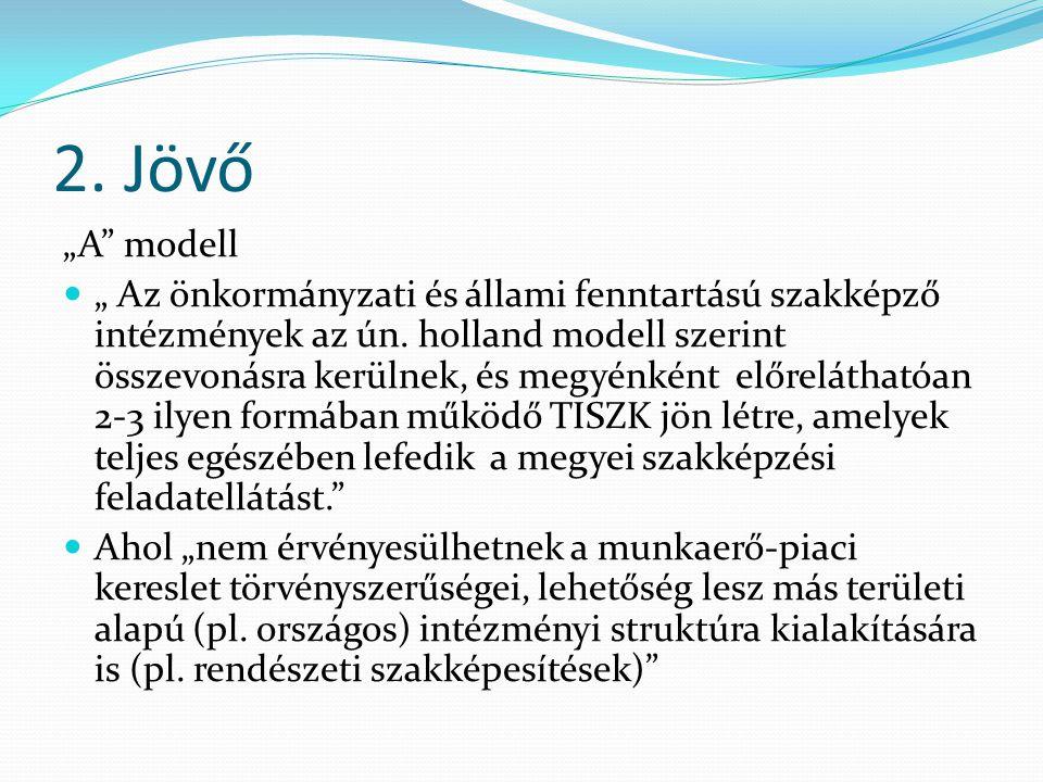 """2. Jövő """"A modell """" Az önkormányzati és állami fenntartású szakképző intézmények az ún."""