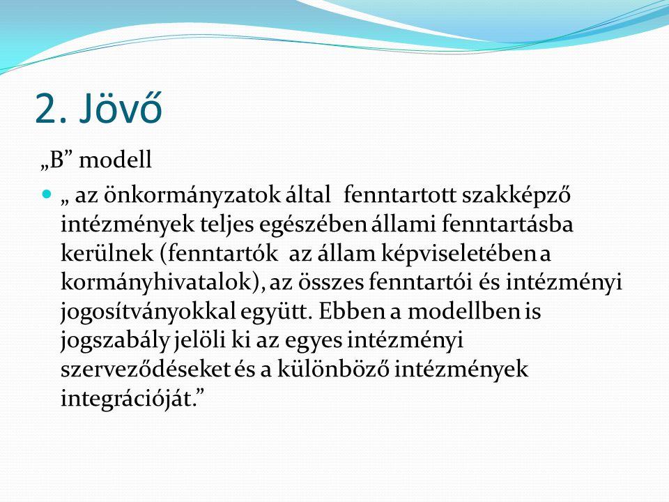 """2. Jövő """"B"""" modell """" az önkormányzatok által fenntartott szakképző intézmények teljes egészében állami fenntartásba kerülnek (fenntartók az állam képv"""