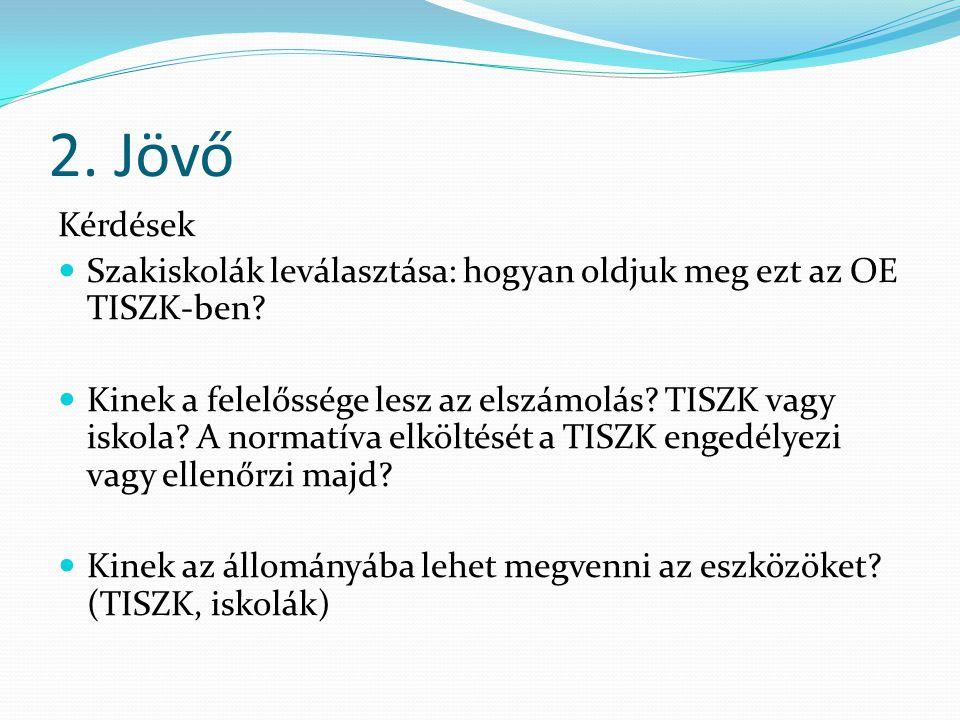 2. Jövő Kérdések Szakiskolák leválasztása: hogyan oldjuk meg ezt az OE TISZK-ben.