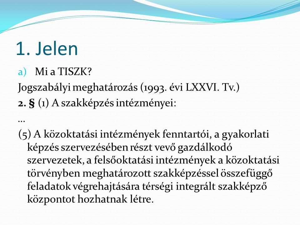 1. Jelen a) Mi a TISZK. Jogszabályi meghatározás (1993.