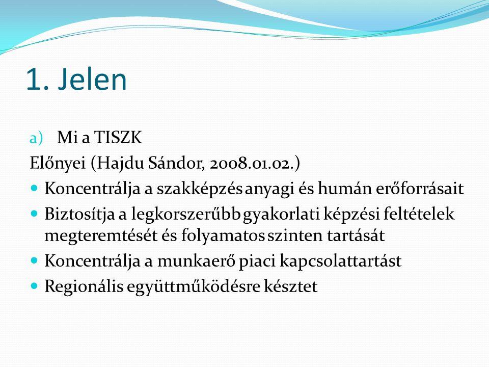 1. Jelen a) Mi a TISZK Előnyei (Hajdu Sándor, 2008.01.02.) Koncentrálja a szakképzés anyagi és humán erőforrásait Biztosítja a legkorszerűbb gyakorlat