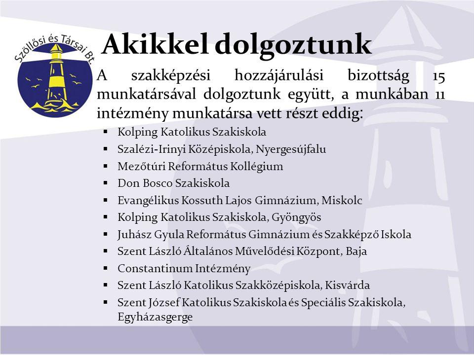 Akikkel dolgoztunk A szakképzési hozzájárulási bizottság 15 munkatársával dolgoztunk együtt, a munkában 11 intézmény munkatársa vett részt eddig :  K