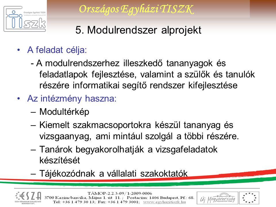 Országos Egyházi TISZK 5. Modulrendszer alprojekt A feladat célja: - A modulrendszerhez illeszkedő tananyagok és feladatlapok fejlesztése, valamint a