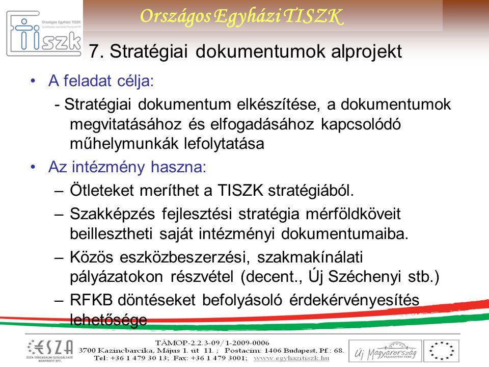 Országos Egyházi TISZK 7. Stratégiai dokumentumok alprojekt A feladat célja: - Stratégiai dokumentum elkészítése, a dokumentumok megvitatásához és elf