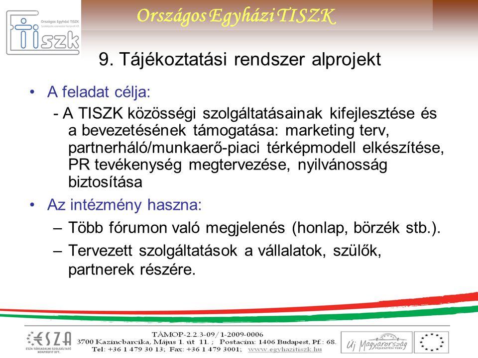 Országos Egyházi TISZK 9. Tájékoztatási rendszer alprojekt A feladat célja: - A TISZK közösségi szolgáltatásainak kifejlesztése és a bevezetésének tám