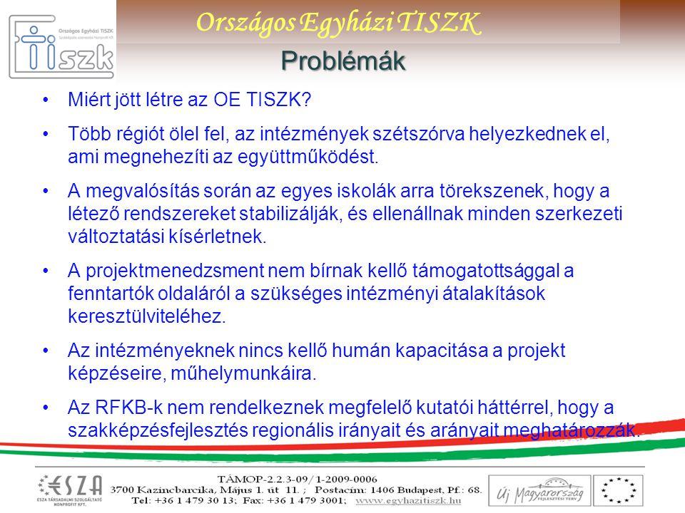 Országos Egyházi TISZKProblémák Miért jött létre az OE TISZK? Több régiót ölel fel, az intézmények szétszórva helyezkednek el, ami megnehezíti az együ