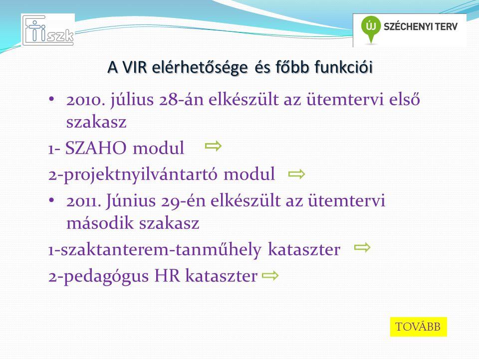 A VIR elérhetősége és főbb funkciói 2010.