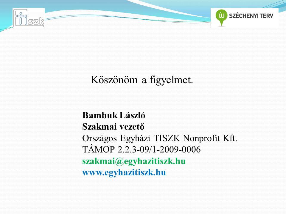 Köszönöm a figyelmet. Bambuk László Szakmai vezető Országos Egyházi TISZK Nonprofit Kft.