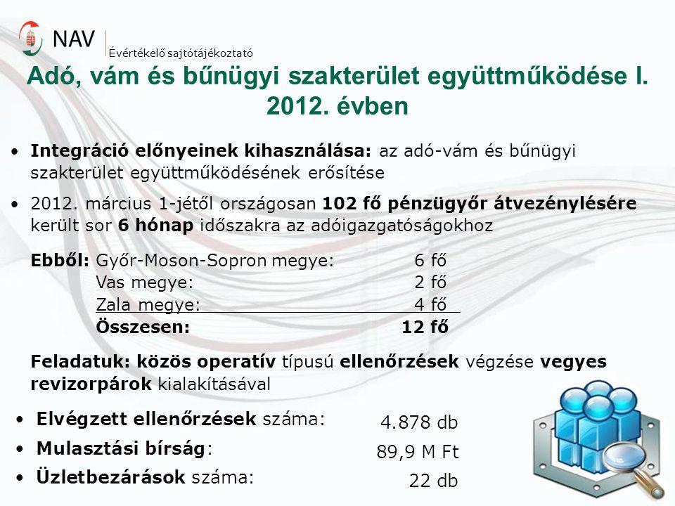 Adó, vám és bűnügyi szakterület együttműködése I. 2012. évben Évértékelő sajtótájékoztató Integráció előnyeinek kihasználása: az adó-vám és bűnügyi sz