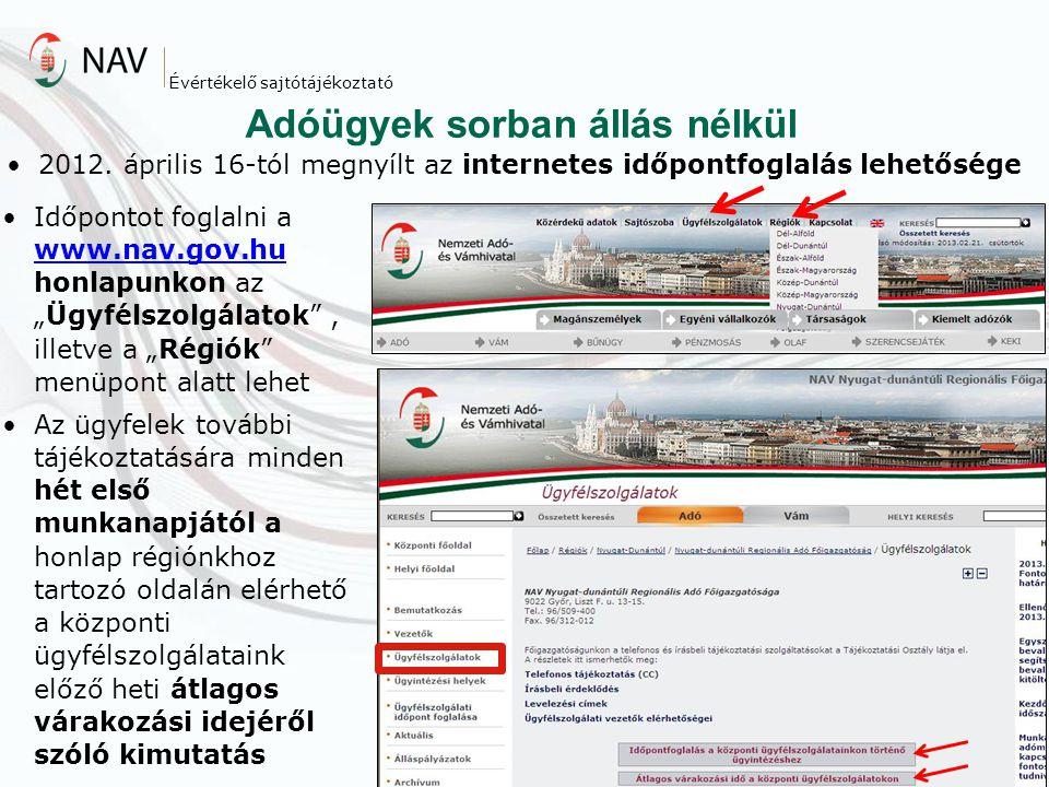 Adóügyek sorban állás nélkül 2012. április 16-tól megnyílt az internetes időpontfoglalás lehetősége Évértékelő sajtótájékoztató Időpontot foglalni a w