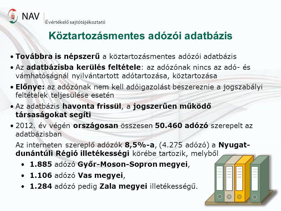 Továbbra is népszerű a köztartozásmentes adózói adatbázis Az adatbázisba kerülés feltétele: az adózónak nincs az adó- és vámhatóságnál nyilvántartott