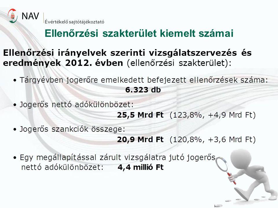 Ellenőrzési szakterület kiemelt számai Évértékelő sajtótájékoztató Ellenőrzési irányelvek szerinti vizsgálatszervezés és eredmények 2012. évben (ellen