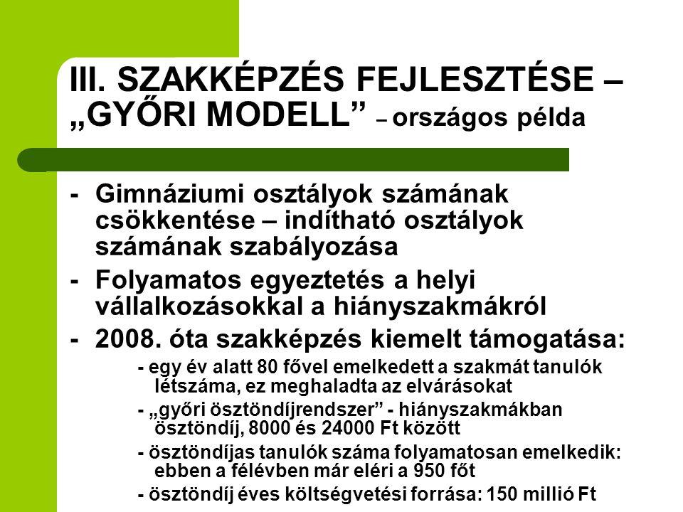 """III. SZAKKÉPZÉS FEJLESZTÉSE – """"GYŐRI MODELL"""" – országos példa - Gimnáziumi osztályok számának csökkentése – indítható osztályok számának szabályozása"""