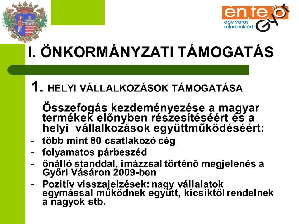 I. ÖNKORMÁNYZATI TÁMOGATÁS 1. HELYI VÁLLALKOZÁSOK TÁMOGATÁSA Összefogás kezdeményezése a magyar termékek előnyben részesítéséért és a helyi vállalkozá