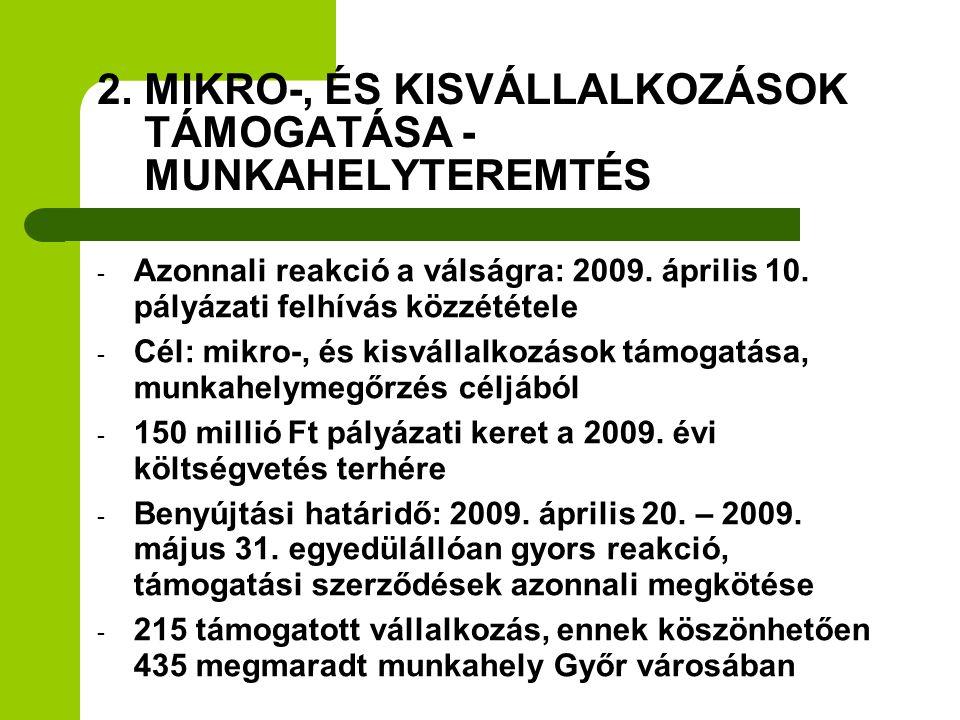 - Azonnali reakció a válságra: 2009. április 10. pályázati felhívás közzététele - Cél: mikro-, és kisvállalkozások támogatása, munkahelymegőrzés céljá