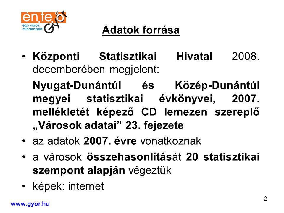 2 Adatok forrása Központi Statisztikai Hivatal 2008.