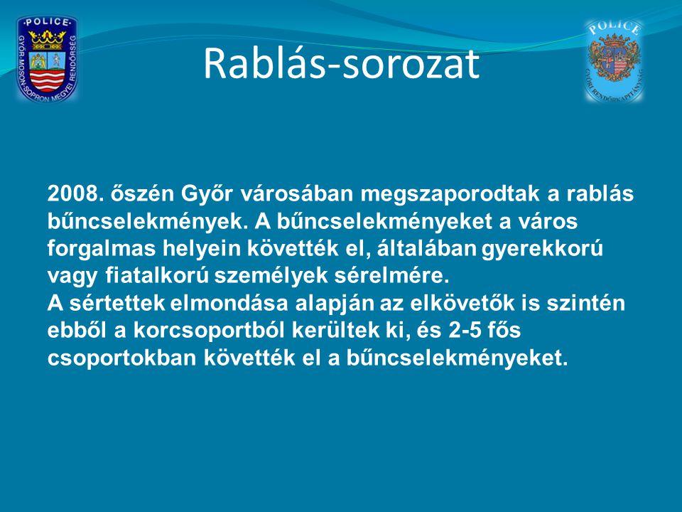 Rablás-sorozat 2008. őszén Győr városában megszaporodtak a rablás bűncselekmények. A bűncselekményeket a város forgalmas helyein követték el, általába