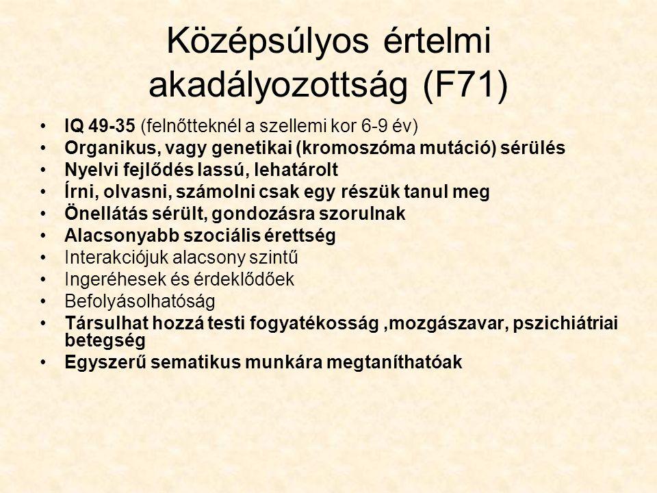 Középsúlyos értelmi akadályozottság (F71) IQ 49-35 (felnőtteknél a szellemi kor 6-9 év) Organikus, vagy genetikai (kromoszóma mutáció) sérülés Nyelvi