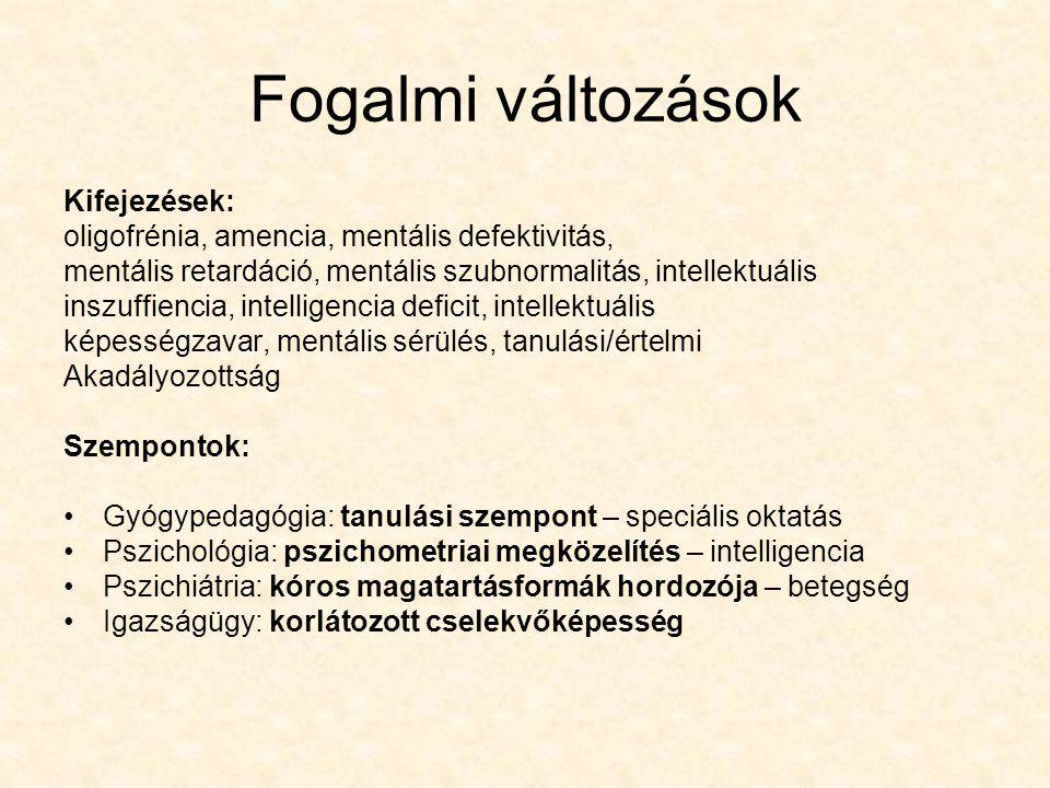 Fogalmi változások Kifejezések: oligofrénia, amencia, mentális defektivitás, mentális retardáció, mentális szubnormalitás, intellektuális inszuffienci