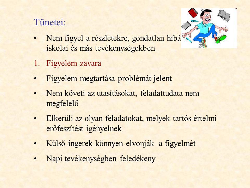 Tünetei: Nem figyel a részletekre, gondatlan hibákat követ el iskolai és más tevékenységekben 1.Figyelem zavara Figyelem megtartása problémát jelent N