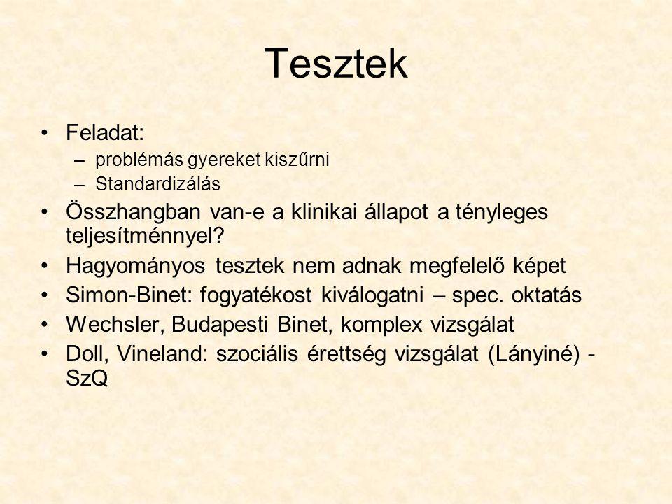 Értelmi fogyatékosság – mentális retardáció 1970-es évek – Budapest vizsgálat (különböző értelmi fogyatékossággal élők komplex vizsgálata)sok határeset a kisegítő iskolában Ok: szociokult.