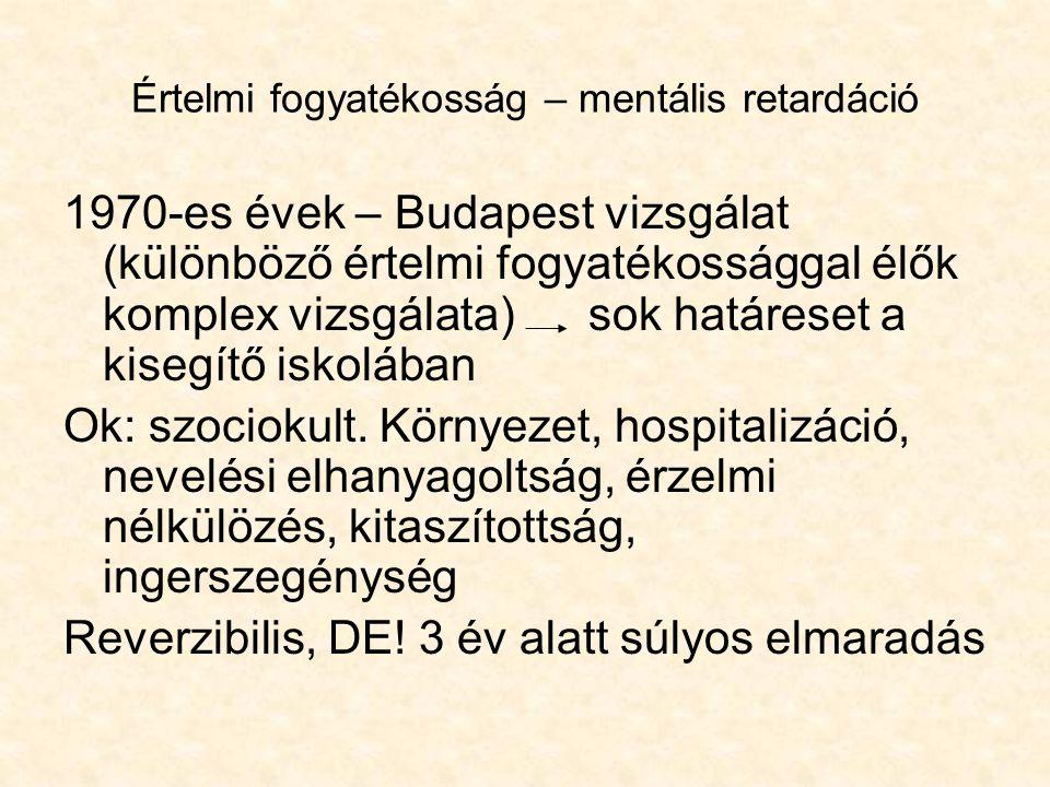 Értelmi fogyatékosság – mentális retardáció 1970-es évek – Budapest vizsgálat (különböző értelmi fogyatékossággal élők komplex vizsgálata)sok határese