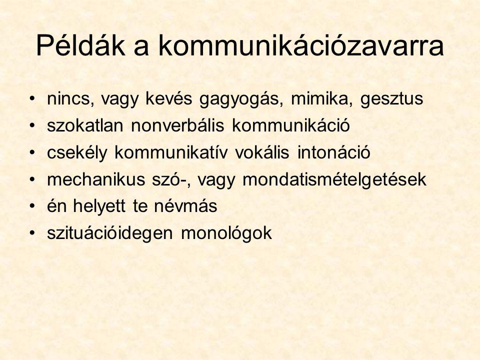 Példák a kommunikációzavarra nincs, vagy kevés gagyogás, mimika, gesztus szokatlan nonverbális kommunikáció csekély kommunikatív vokális intonáció mec