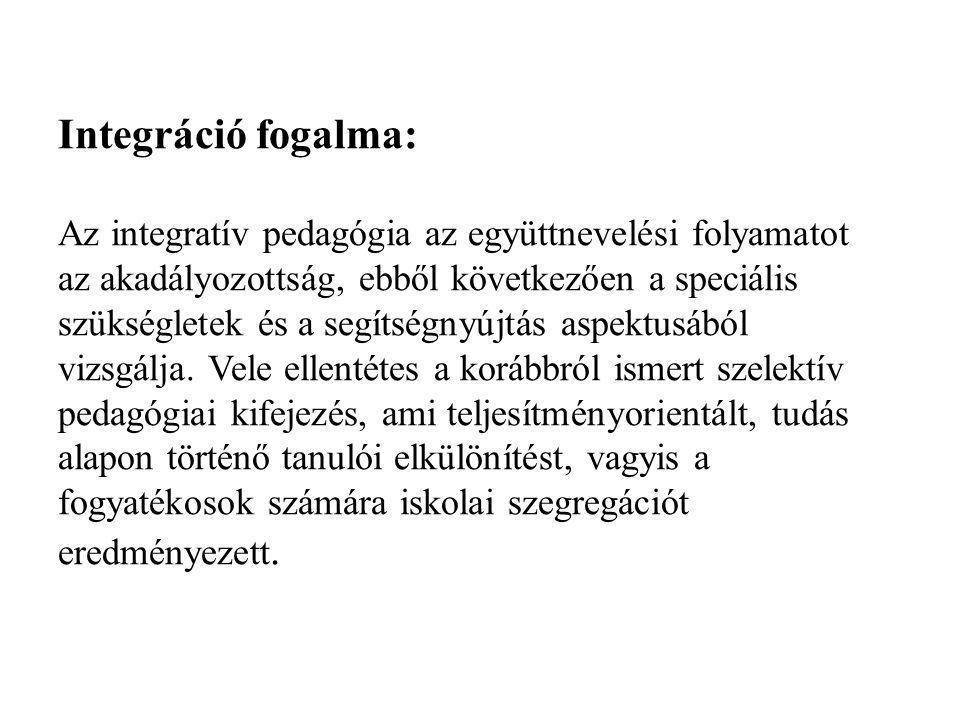 Integráció fogalma: Az integratív pedagógia az együttnevelési folyamatot az akadályozottság, ebből következően a speciális szükségletek és a segítségn