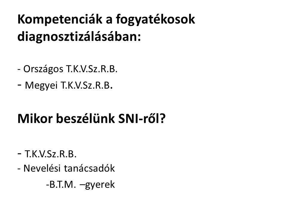 Kompetenciák a fogyatékosok diagnosztizálásában: - Országos T.K.V.Sz.R.B. - Megyei T.K.V.Sz.R.B. Mikor beszélünk SNI-ről? - T.K.V.Sz.R.B. - Nevelési t