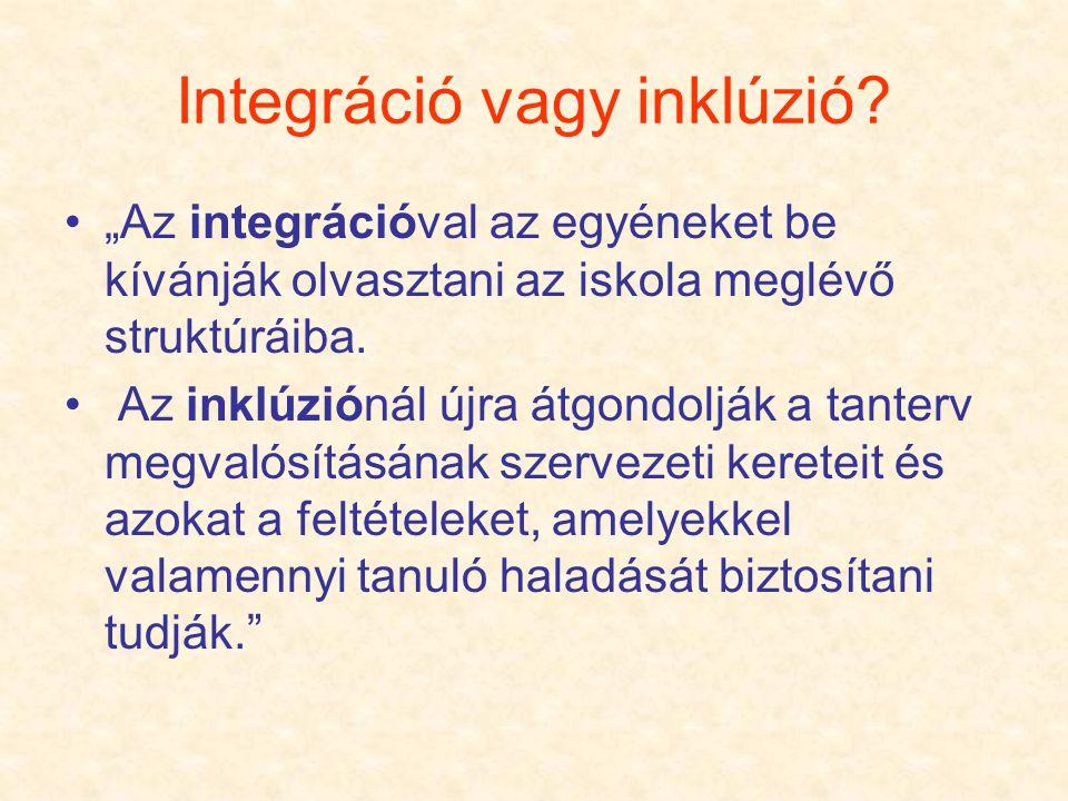 """Integráció vagy inklúzió? """"Az integrációval az egyéneket be kívánják olvasztani az iskola meglévő struktúráiba. Az inklúziónál újra átgondolják a tant"""