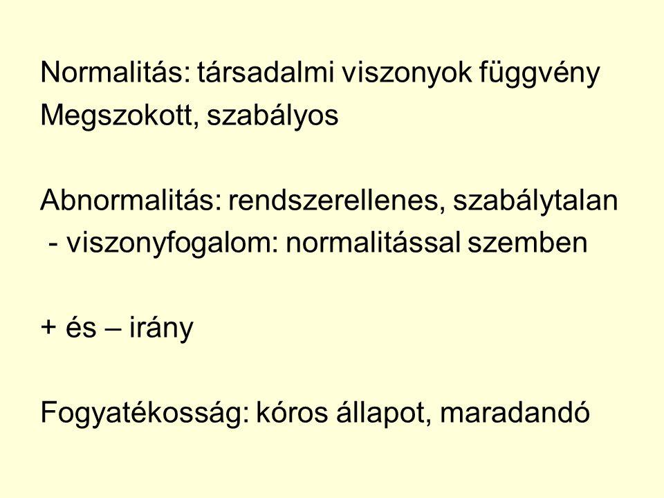 Normalitás: társadalmi viszonyok függvény Megszokott, szabályos Abnormalitás: rendszerellenes, szabálytalan - viszonyfogalom: normalitással szemben +