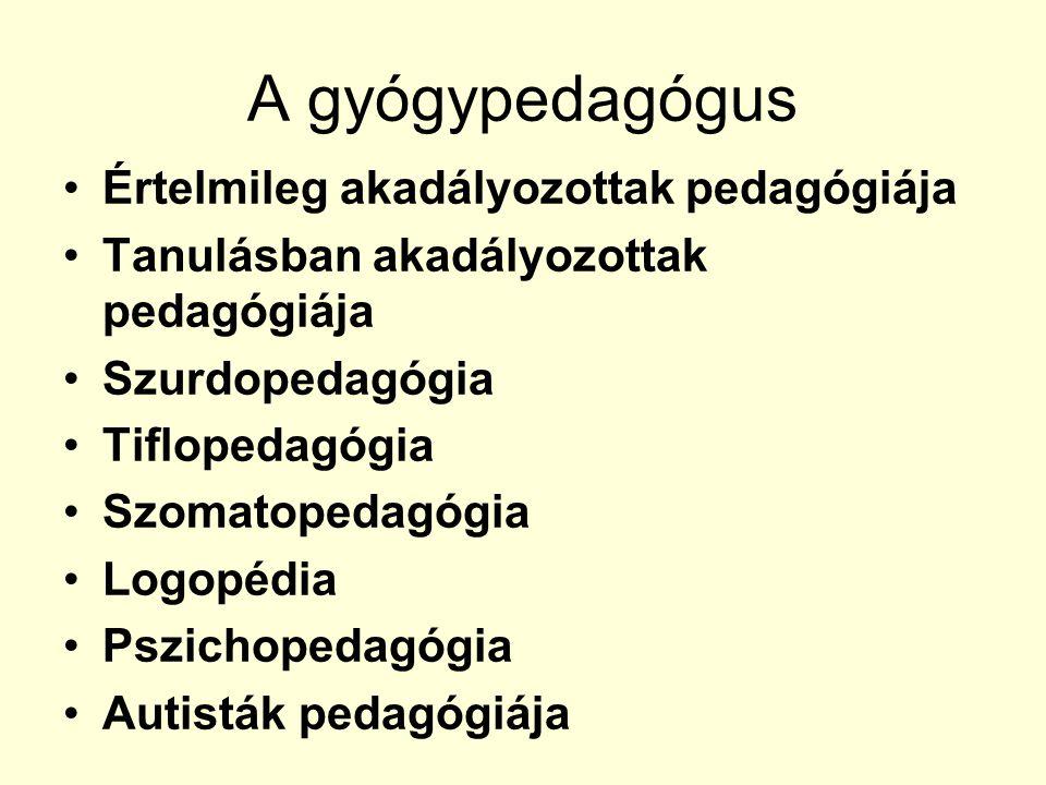 A gyógypedagógus Értelmileg akadályozottak pedagógiája Tanulásban akadályozottak pedagógiája Szurdopedagógia Tiflopedagógia Szomatopedagógia Logopédia