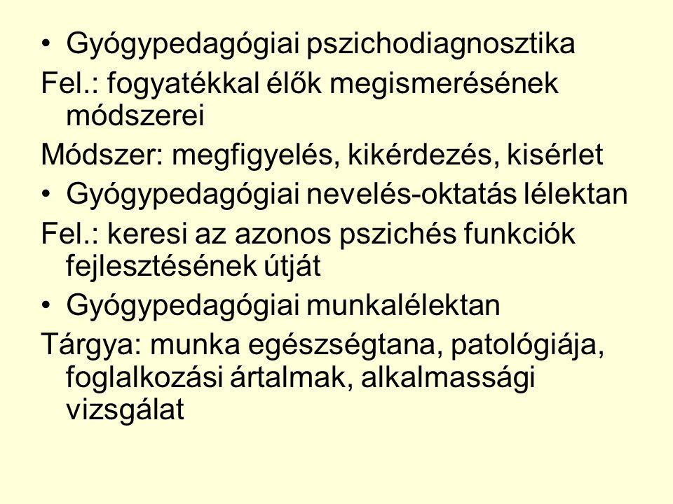 Gyógypedagógiai pszichodiagnosztika Fel.: fogyatékkal élők megismerésének módszerei Módszer: megfigyelés, kikérdezés, kisérlet Gyógypedagógiai nevelés